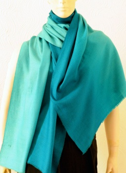 Warm Stoles & Mufflers,Indiacraft,Pure pashmina shaded Stole -Turquoise & blue  PPKSH