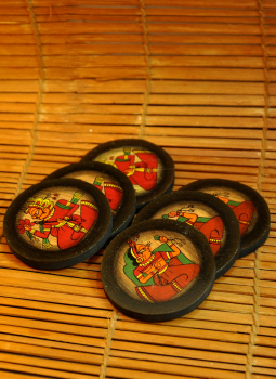 Phad Paintings,Indiacraft,Phad Art - Round Coaster Set (6) (4