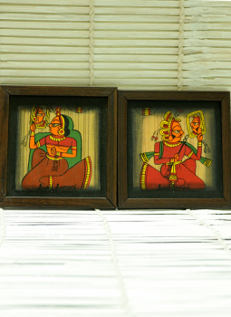 Phad Paintings,Indiacraft,Contemporary Art -Small Set -2 Phad Painting On Wood Fram...