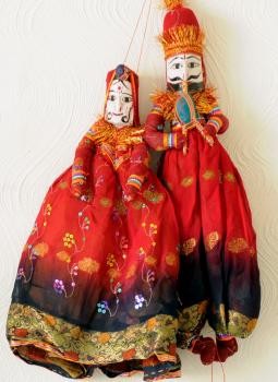 "Rajasthani Puppet,Indiacraft,Rajasthan Puppets Couple   (H- 16"" x W- 6"") RAJPUPB"