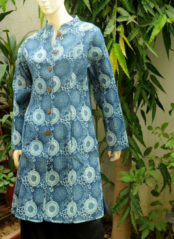 Sarees,Indiacraft,Reversible cotton quilted jacket - Long - Indigo printed ...