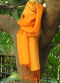Warm Stoles & Mufflers,Indiacraft,Soft Silk & Wool Reversible kashmiri Muffler - Pale Orang...