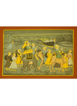 Miniature Art on Postcard,Indiacraft,Rajasthan Miniature Painting- Procession in grey tones  (...