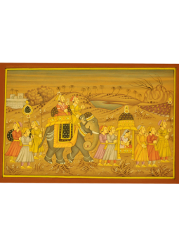 Miniature Art on Postcard,Indiacraft,Rajasthan Miniature Painting- Procession with Queen  (H-1...