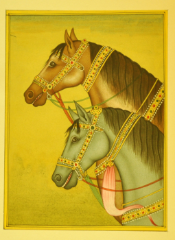 Miniature Art on Postcard,Indiacraft,Rajasthan Miniature Painting- Two Horses  (H-11