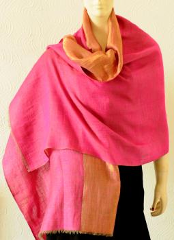 Warm Stoles & Mufflers,Indiacraft,Reversible Pure pashmina and  dull gold zari stole - Pink...