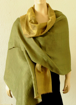 Warm Stoles & Mufflers,Indiacraft,Reversible Pure pashmina and  dull silver zari stole - Bl...