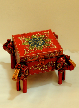 Painted wood,Indiacraft,Rajasthani painted wooden box curio - red  RPWBCR