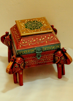 Painted wood,Indiacraft,Rajasthani painted wooden box curio - red & yellow  RPWBCY