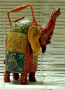 Painted wood,Indiacraft,Rajasthani painted metal water can - Elephant