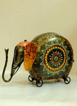 Painted wood,Indiacraft,Rajasthani painted metal curio - money bank RPWCM