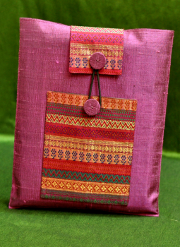 Ipad Covers,Indiacraft,Raw Silk & Brocade iPAD Cover - Mauve & Red
