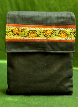 Ipad Covers,Indiacraft,Raw Silk Kutch Embroidered iPAD Cover - Black with Flap