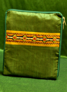 Ipad Covers,Indiacraft,Raw Silk Kutch Embroidered iPAD Cover - Green with Zip