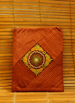Ipad Covers,Indiacraft,Raw Silk Kutch Embroidered iPAD Cover - Rust with Zip
