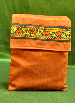 Ipad Covers,Indiacraft,Raw Silk Kutch Embroidered iPAD Cover - Rust with Flap