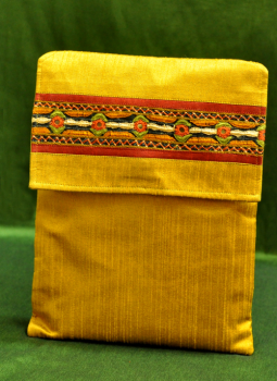 Ipad Covers,Indiacraft,Raw Silk Kutch Embroidered iPAD Cover - Yellow with Flap