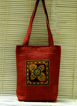 Kutch Embroidered Handbags,Indiacraft,Raw Silk Kutch Embroidered Sling Bag Maroon