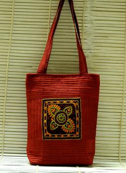 Kutch Embroidered Handbags,Indiacraft,Raw Silk Kutch Embroidered Sling Bag Maroon