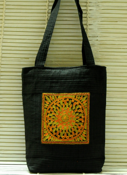 Kutch Embroidered Handbags,Indiacraft,Raw Silk Kutch Embroidered Sling Bag Black