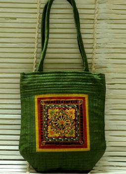 Kutch Embroidered Handbags,Indiacraft,Raw Silk Kutch Embroidered Sling Bag Small Green