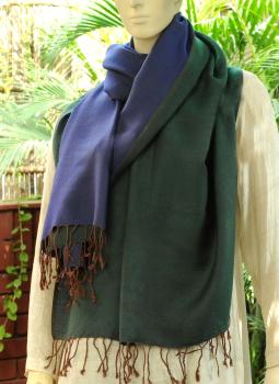 Warm Stoles & Mufflers,Indiacraft,Reversible Soft kashmiri Wool Stole - Blue and Dark Green...