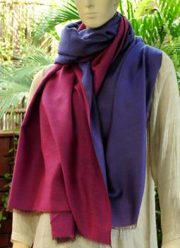 Warm Stoles & Mufflers,Indiacraft,Reversible Soft kashmiri Wool Stole - Dark Mauve & Pink
