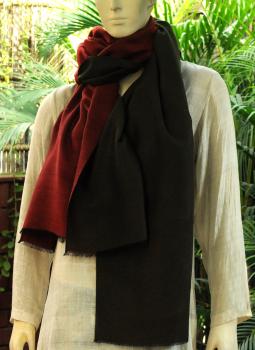Warm Stoles & Mufflers,Indiacraft,Reversible Soft kashmiri Wool Stole - Maroon & Dark Olive...