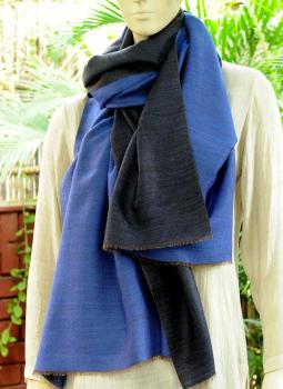 Warm Stoles & Mufflers,Indiacraft,Reversible Soft kashmiri Wool Stole - Blue & Black