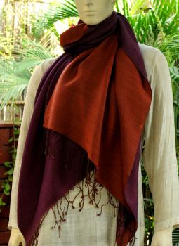 Warm Stoles & Mufflers,Indiacraft,Reversible Soft kashmiri Wool Stole -Dark Pink & Pale Orange