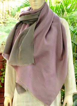 Warm Stoles & Mufflers,Indiacraft,Reversible Soft kashmiri Wool Stole - Lavender Blue & Mauve