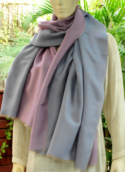 Warm Stoles & Mufflers,Indiacraft,Reversible Soft kashmiri Wool Stole - Pearl Grey & Mauve