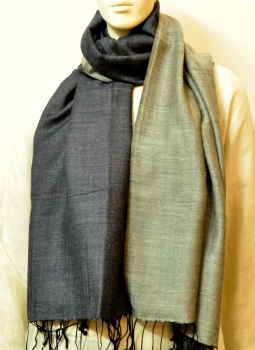 Warm Stoles & Mufflers,Indiacraft,Reversible soft wool - charcoal black & pearl grey (2.00m...