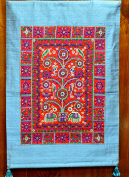 Kutch Embroidered Wall Hanging,Indiacraft,Raw Silk wall hanging with fine kutch embroidery- Red on ...