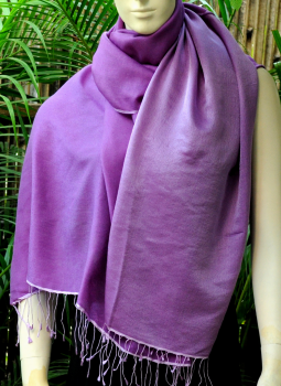 Warm Stoles & Mufflers,Indiacraft,Reversible Silk Wool Stole - Purple & Mauve