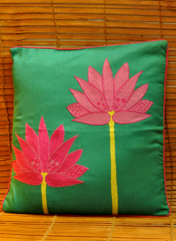 Soft Furnishinngs,Indiacraft,Silk embroidered cushion cover - Dark Green Lotus  (38x38...