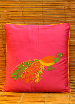 Soft Furnishinngs,Indiacraft,Silk embroidered cushion cover -Magenta with peacock  (38...