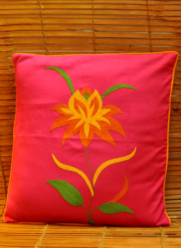 Soft Furnishinngs,Indiacraft,Silk embroidered cushion cover - Pink Lily  (38x38cms) SE...