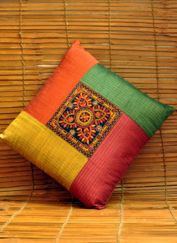 Kutch Embroidered Handbags,Indiacraft,Raw silk cushion cover with finest kutch embroidery -yell...