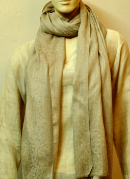 Warm Stoles & Mufflers,Indiacraft,Semi-Pashmina Wool - Beige with oriental self design  (2....
