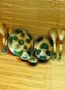 Serving Ware,Indiacraft,Shell Craft Serving Bowl Set - Green Peacock Feather (SSB...