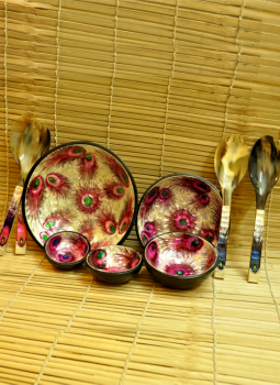 Serving Ware,Indiacraft,Shell Craft Serving Bowl Set -Pink Peacock Feather (SSBSP...