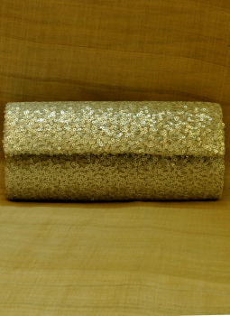 Brocade clutch bag,Indiacraft,Silver Sequinned Satin Clutch Bag- with flap