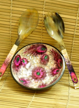 Serving Ware,Indiacraft,Shell Craft Salad Set-Pink Peacock Feather (SSSPPF1)