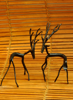 "Bastar Tribal Art,Indiacraft,Tribal Art Deer Curio - set of Two (H-6.5"" x W- 4.5"")TADC..."