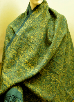 Warm Stoles & Mufflers,Indiacraft,Ajrakh on Wool - Blue, Beige & Black small print stole