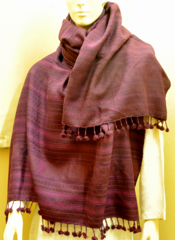 Warm Stoles & Mufflers,Indiacraft,Traditional Purple woolen woven  Shawl with tassles- Gujarat