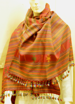 Warm Stoles & Mufflers,Indiacraft,Traditional Red woolen woven Shawl with   tassles- Gujarat