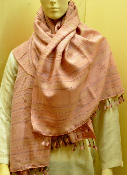 Warm Stoles & Mufflers,Indiacraft,Traditional Soft Pink woolen woven shawl with   tassles- ...