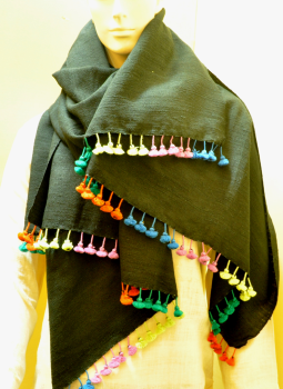 Warm Stoles & Mufflers,Indiacraft,Tussore & Wool Black Gujarat Stole with multicoloured tas...